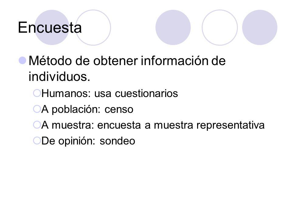 Encuesta Método de obtener información de individuos. Humanos: usa cuestionarios A población: censo A muestra: encuesta a muestra representativa De op