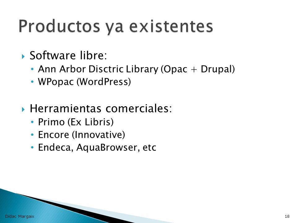 Software libre: Ann Arbor Disctric Library (Opac + Drupal) WPopac (WordPress) Herramientas comerciales: Primo (Ex Libris) Encore (Innovative) Endeca, AquaBrowser, etc Dídac Margaix18