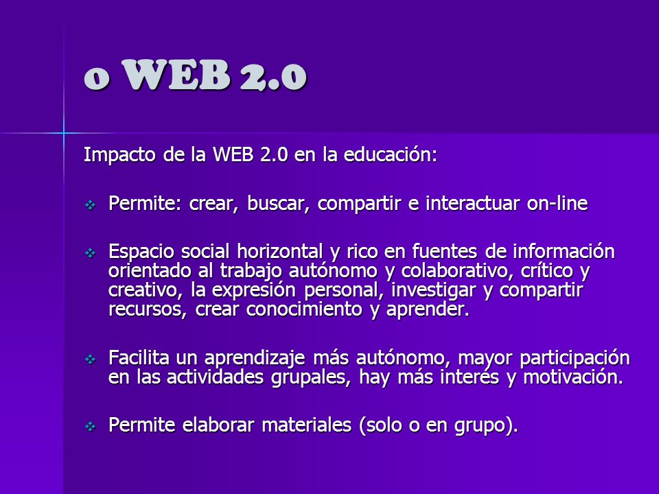 o WEB 2.0 en la Educación