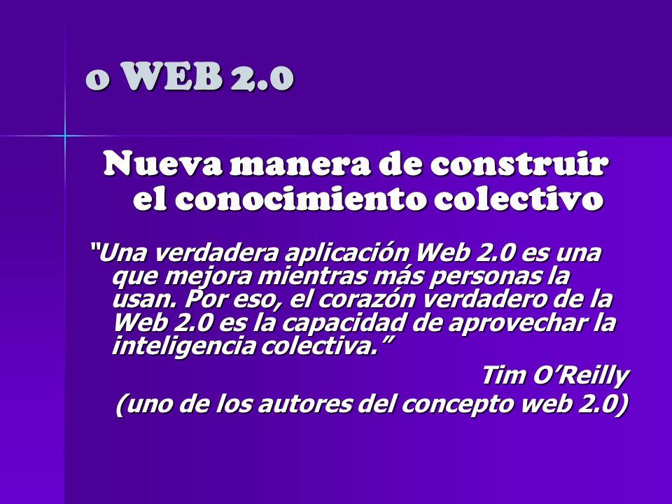 o WEB 2.0 Ofrece espacios on-line para la publicación de contenidos.