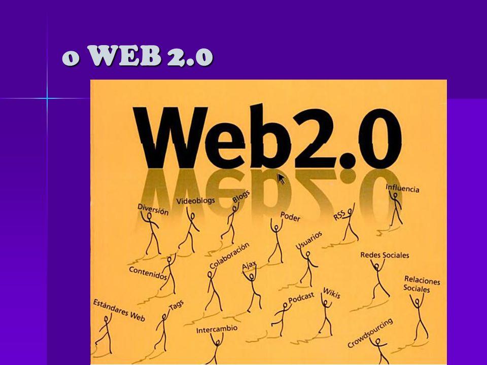 o WEB 1.0 La primera versión de Internet hoy la denominamos web 1.0 (1973-2004)La primera versión de Internet hoy la denominamos web 1.0 (1973-2004) Páginas estáticas programadas en HTML (Hyper Text Mark Language) que no eran actualizadas frecuentemente, de sólo lectura, el usuario no puede interactuar con el contenido de la página El éxito de las.com dependía de webs más dinámicas (a veces llamadas Web 1.5) donde los CMS (Sistema de gestión de contenidos) servían páginas HTML dinámicas creadas al vuelo desde una actualizada base de datos.