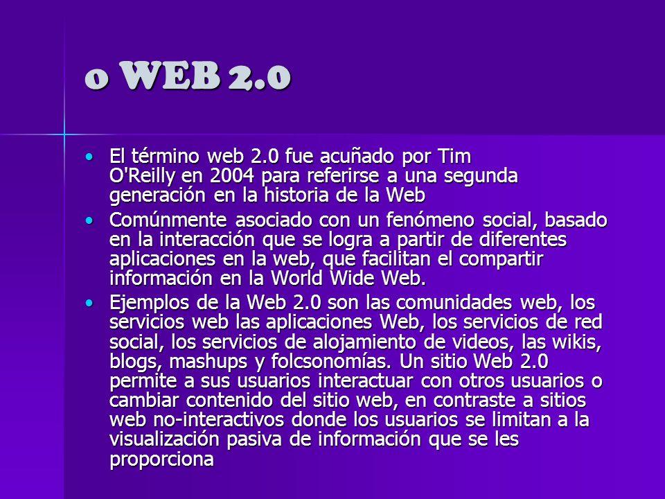o WEB 2.0