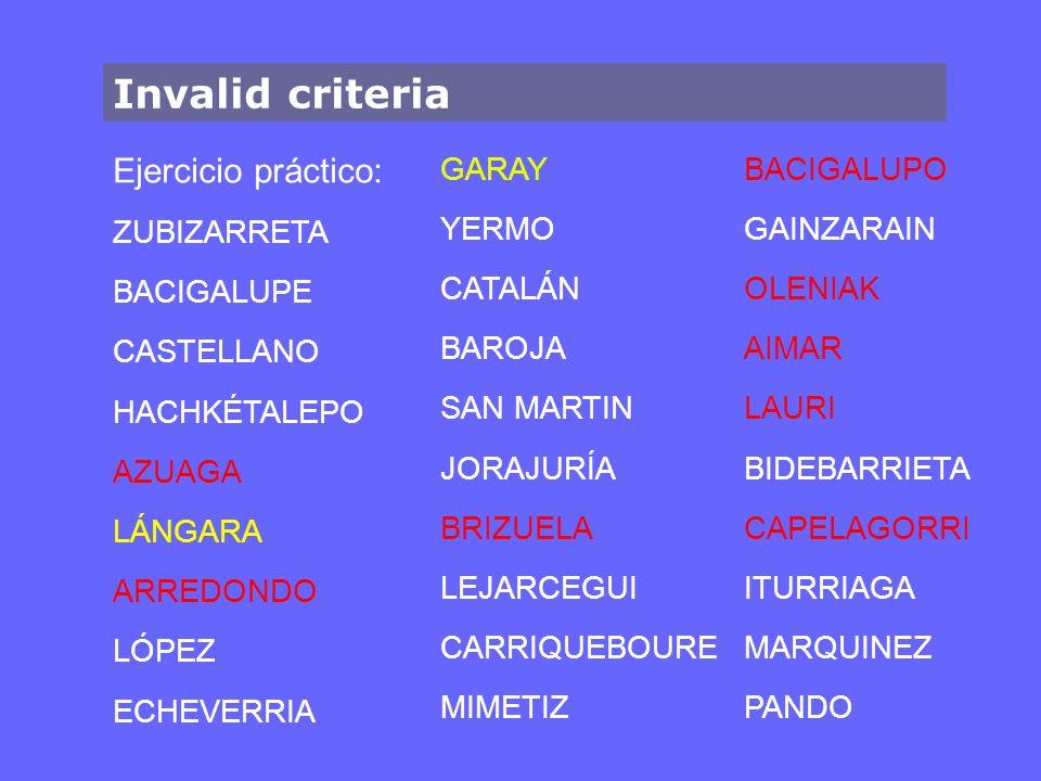 Invalid criteria Ejercicio práctico: ZUBIZARRETA BACIGALUPE CASTELLANO HACHKÉTALEPO AZUAGA LÁNGARA ARREDONDO LÓPEZ ECHEVERRIA GARAY YERMO CATALÁN BARO