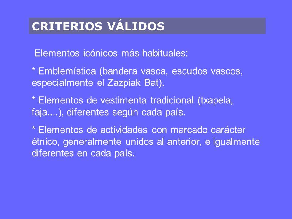 CRITERIOS VÁLIDOS Elementos icónicos más habituales: * Emblemística (bandera vasca, escudos vascos, especialmente el Zazpiak Bat).