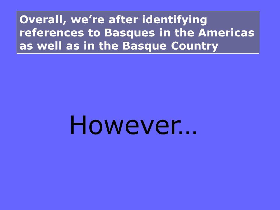 The term BASQUE Academic context (dictionary) Scientific context (linguistic, ethnographic).