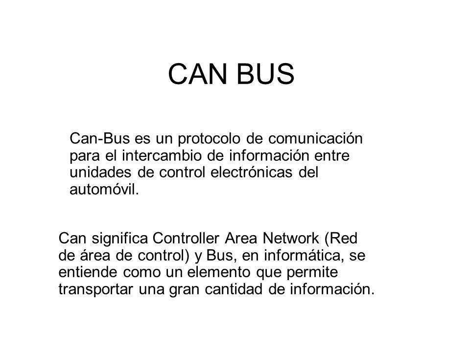 CAN BUS Can significa Controller Area Network (Red de área de control) y Bus, en informática, se entiende como un elemento que permite transportar una