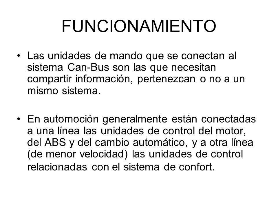 FUNCIONAMIENTO Las unidades de mando que se conectan al sistema Can-Bus son las que necesitan compartir información, pertenezcan o no a un mismo siste
