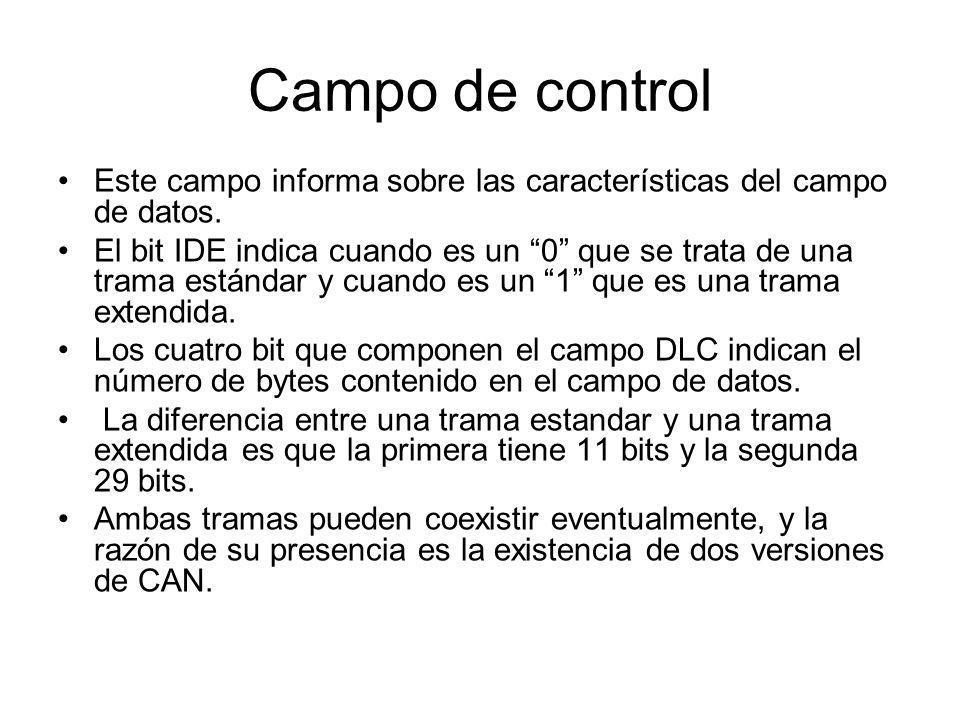Campo de control Este campo informa sobre las características del campo de datos. El bit IDE indica cuando es un 0 que se trata de una trama estándar