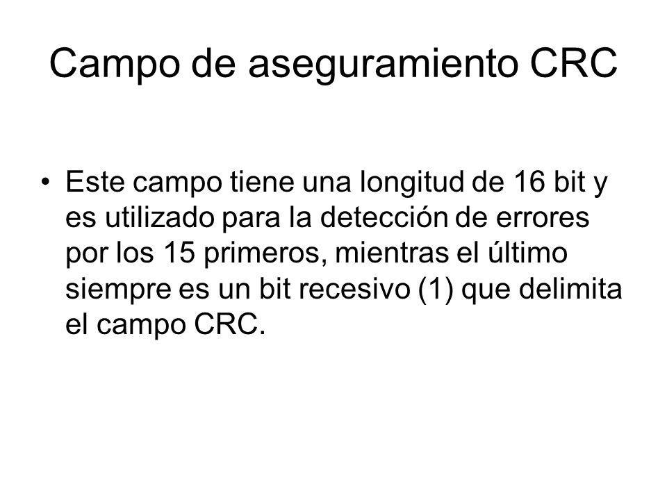 Campo de aseguramiento CRC Este campo tiene una longitud de 16 bit y es utilizado para la detección de errores por los 15 primeros, mientras el último