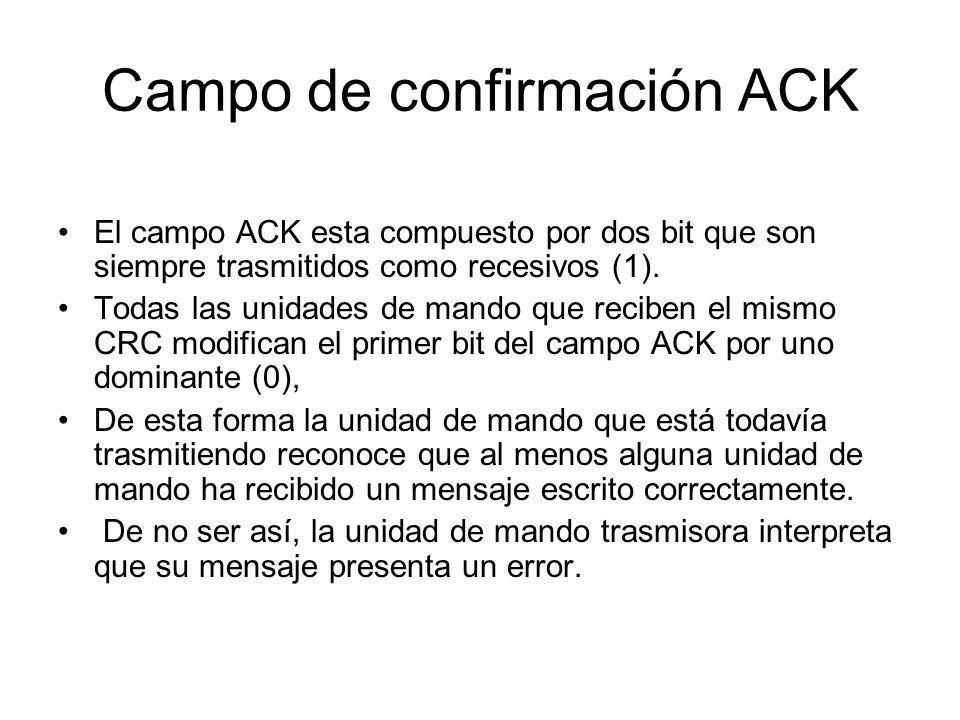 Campo de confirmación ACK El campo ACK esta compuesto por dos bit que son siempre trasmitidos como recesivos (1). Todas las unidades de mando que reci