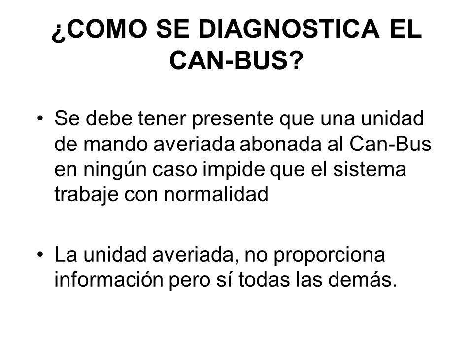 ¿COMO SE DIAGNOSTICA EL CAN-BUS? Se debe tener presente que una unidad de mando averiada abonada al Can-Bus en ningún caso impide que el sistema traba