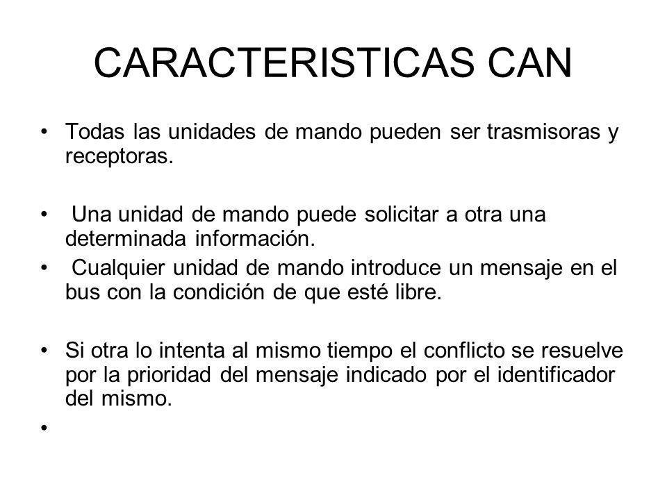 CARACTERISTICAS CAN Todas las unidades de mando pueden ser trasmisoras y receptoras. Una unidad de mando puede solicitar a otra una determinada inform