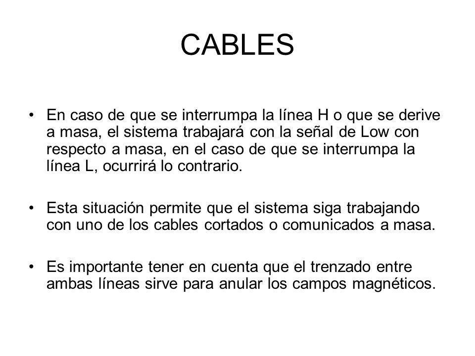 CABLES En caso de que se interrumpa la línea H o que se derive a masa, el sistema trabajará con la señal de Low con respecto a masa, en el caso de que