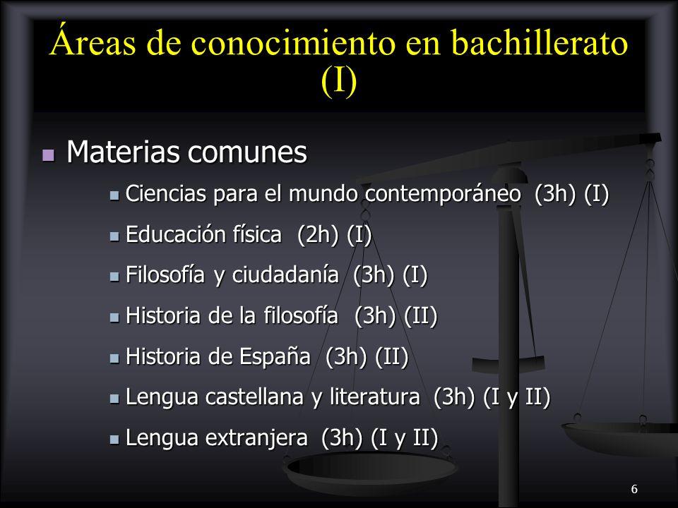 7 Áreas de conocimiento en bachillerato (II) Materias de modalidad Materias de modalidad Ciencias y Tecnología Ciencias y Tecnología Biología (4h) (II) Biología (4h) (II) Biología y geología (4h) (I) Biología y geología (4h) (I) Ciencias de la Tierra y medioambientales (4h) (II) Ciencias de la Tierra y medioambientales (4h) (II) Dibujo técnico I y II (4h) (I y II) Dibujo técnico I y II (4h) (I y II) Electrotecnia (4h) (II) Electrotecnia (4h) (II) Física (4h) (II) Física (4h) (II) Física y Química (4h) (I) Física y Química (4h) (I) Matemáticas I y II (4h) (I y II) Matemáticas I y II (4h) (I y II) Química (4h) (II) Química (4h) (II) Tecnología Industrial I y II (4h) (I y II) Tecnología Industrial I y II (4h) (I y II)