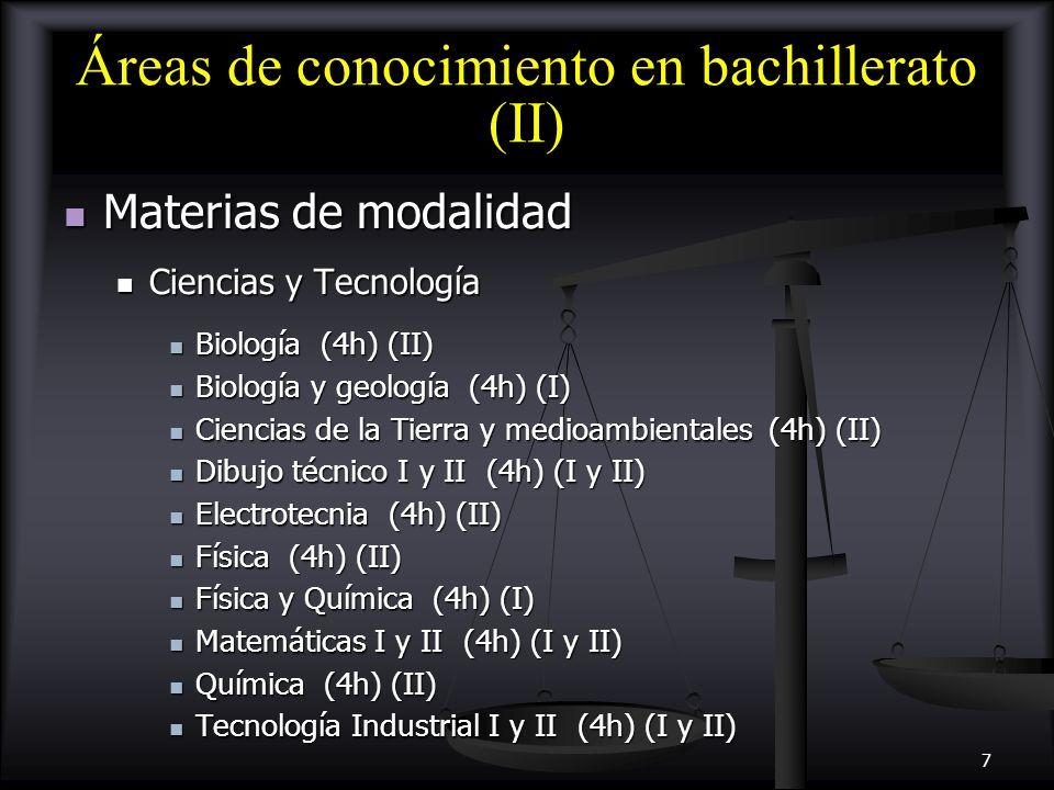 8 Áreas de conocimiento en bachillerato (III) Materias de modalidad (3h) Materias de modalidad (3h) Humanidades y Ciencias Sociales Humanidades y Ciencias Sociales Economía (4h) (I) Economía (4h) (I) Economía de la empresa (4h) (II) Economía de la empresa (4h) (II) Geografía (4h) (II) Geografía (4h) (II) Griego I y II (4h) (I y II) Griego I y II (4h) (I y II) Historia del Arte (4h) (II) Historia del Arte (4h) (II) Historia del mundo contemporáneo (4h) (I) Historia del mundo contemporáneo (4h) (I) Latín I y II (4h) (I y II) Latín I y II (4h) (I y II) Literatura universal (4h) (II) Literatura universal (4h) (II) Matemáticas aplicadas a las CC.