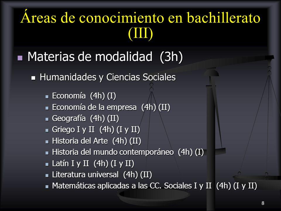 9 Consideraciones importantes (2) En la modalidad de Ciencias y Tecnología es obligatorio dar Matemáticas en los dos cursos.