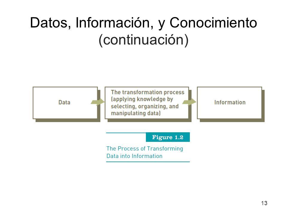 Datos, Información, y Conocimiento (continuación) 13