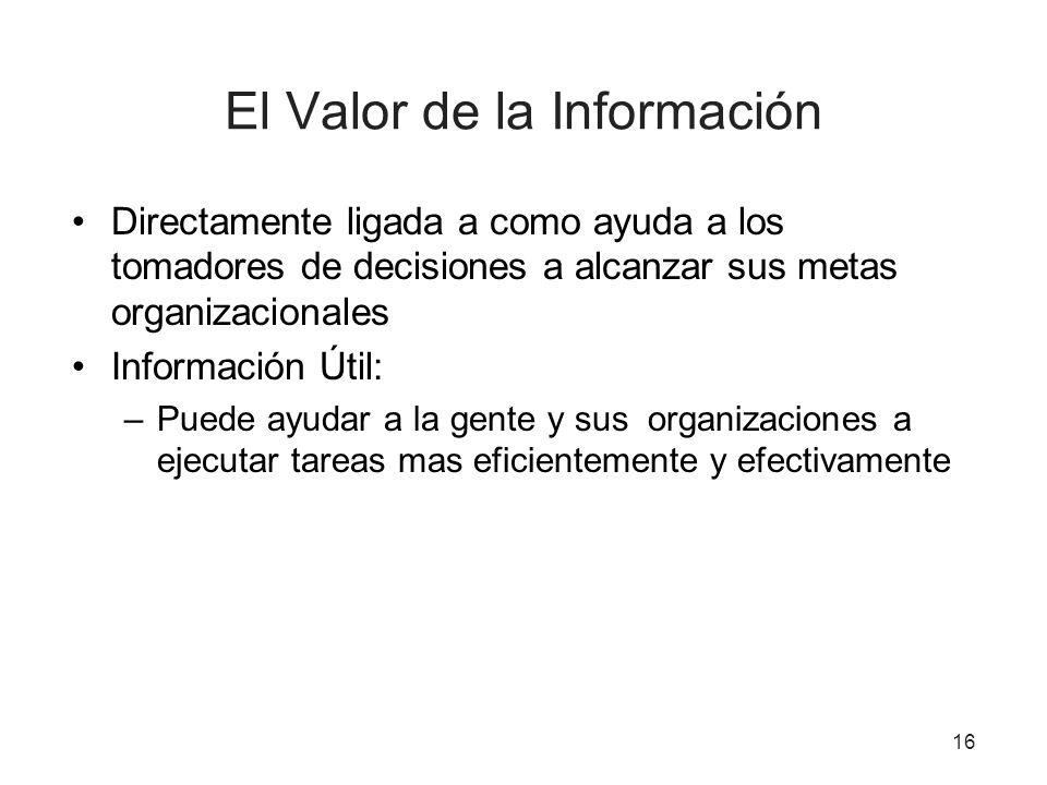El Valor de la Información Directamente ligada a como ayuda a los tomadores de decisiones a alcanzar sus metas organizacionales Información Útil: –Pue