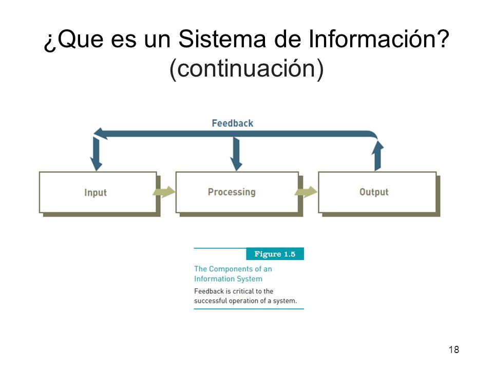 ¿Que es un Sistema de Información? (continuación) 18