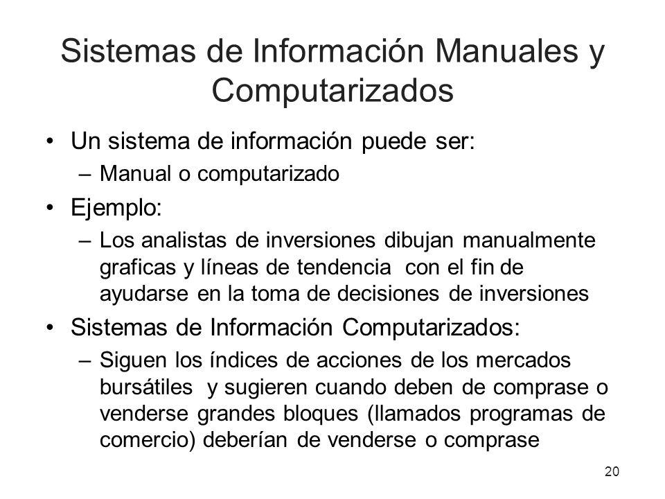 Sistemas de Información Manuales y Computarizados Un sistema de información puede ser: –Manual o computarizado Ejemplo: –Los analistas de inversiones