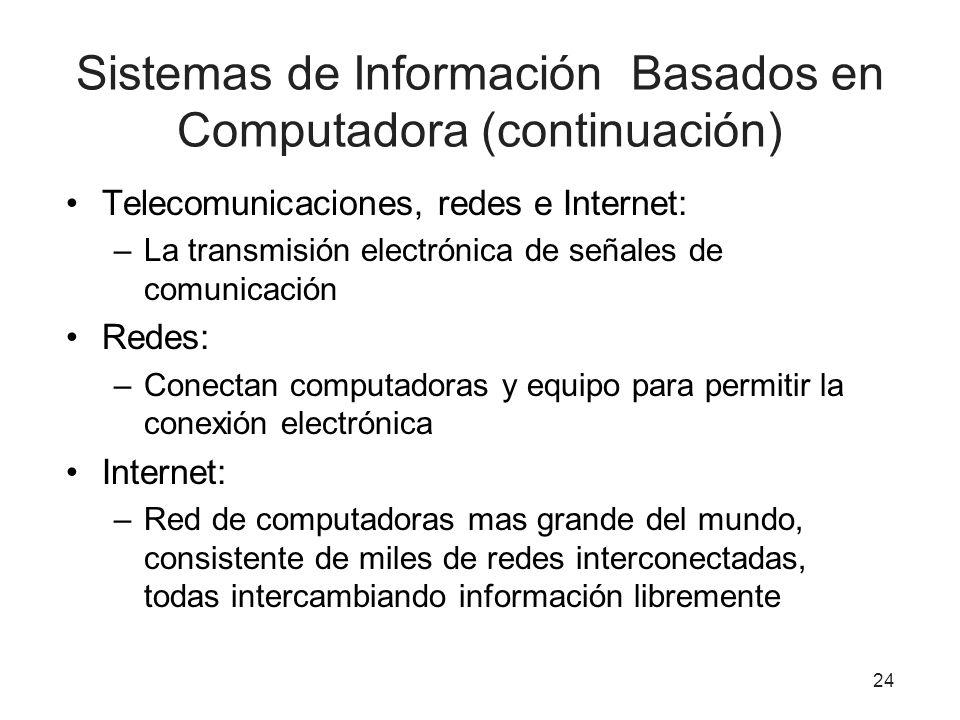 Sistemas de Información Basados en Computadora (continuación) Telecomunicaciones, redes e Internet: –La transmisión electrónica de señales de comunica