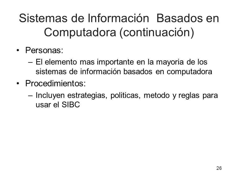 Sistemas de Información Basados en Computadora (continuación) Personas: –El elemento mas importante en la mayoria de los sistemas de información basad