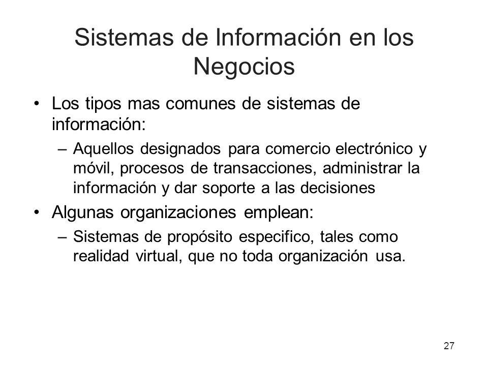 Sistemas de Información en los Negocios Los tipos mas comunes de sistemas de información: –Aquellos designados para comercio electrónico y móvil, proc