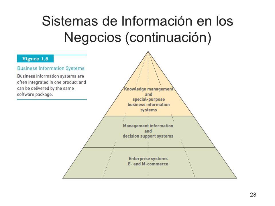 Sistemas de Información en los Negocios (continuación) 28