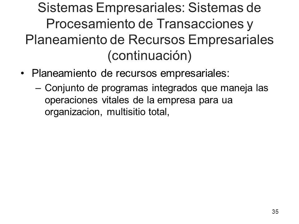 Sistemas Empresariales: Sistemas de Procesamiento de Transacciones y Planeamiento de Recursos Empresariales (continuación) Planeamiento de recursos em