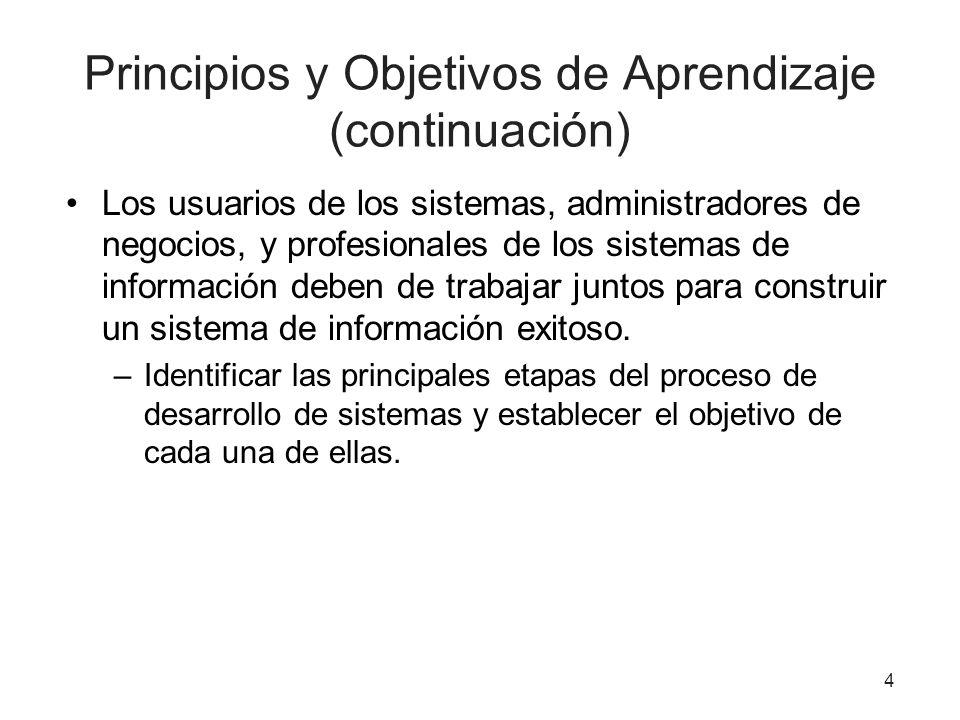 Principios y Objetivos de Aprendizaje (continuación) Los usuarios de los sistemas, administradores de negocios, y profesionales de los sistemas de inf