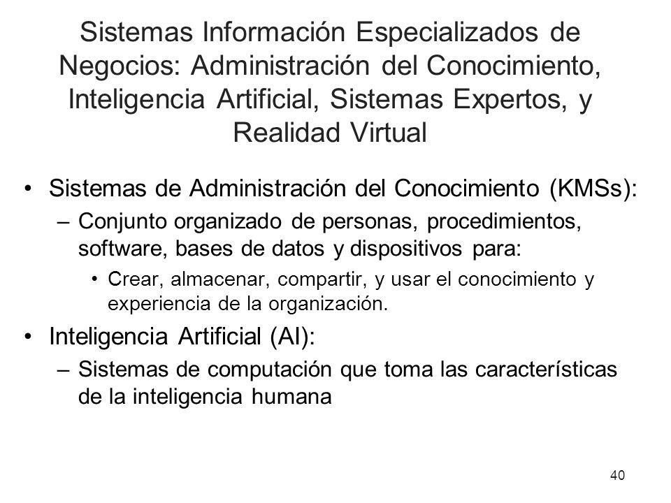 Sistemas Información Especializados de Negocios: Administración del Conocimiento, Inteligencia Artificial, Sistemas Expertos, y Realidad Virtual Siste