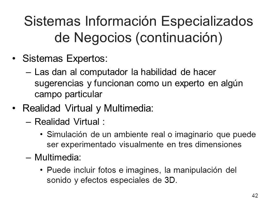 Sistemas Información Especializados de Negocios (continuación) Sistemas Expertos: –Las dan al computador la habilidad de hacer sugerencias y funcionan