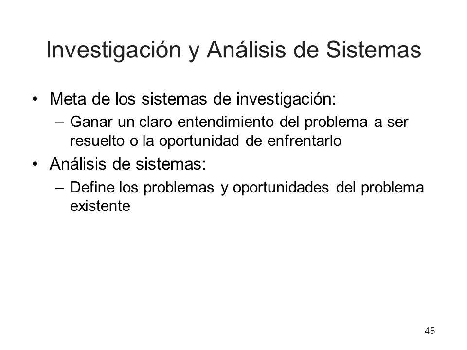 Investigación y Análisis de Sistemas Meta de los sistemas de investigación: –Ganar un claro entendimiento del problema a ser resuelto o la oportunidad
