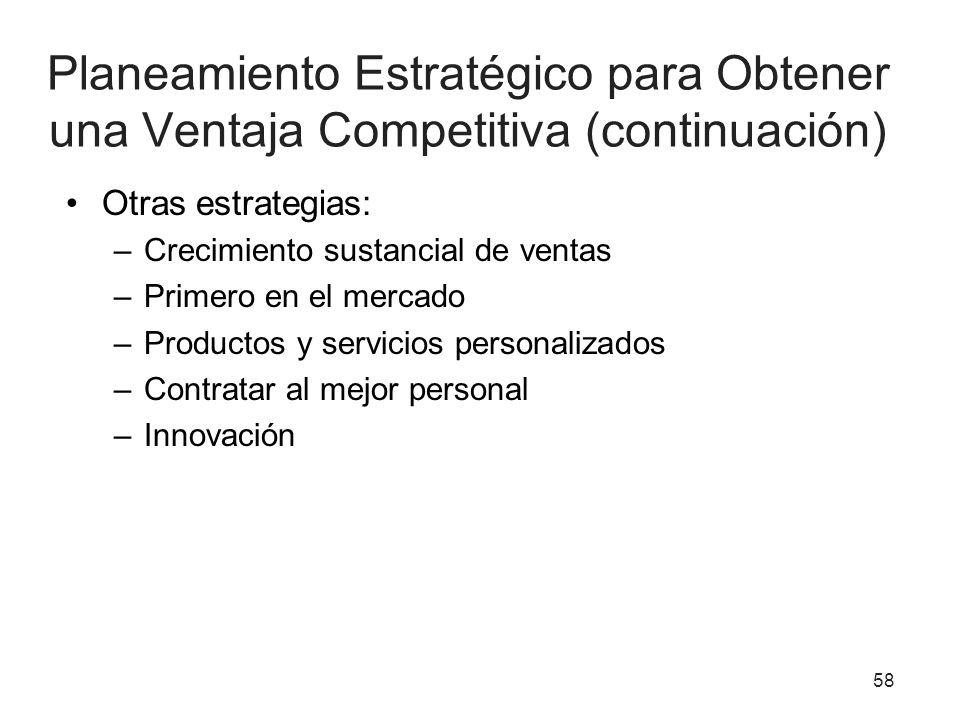 Planeamiento Estratégico para Obtener una Ventaja Competitiva (continuación) Otras estrategias: –Crecimiento sustancial de ventas –Primero en el merca