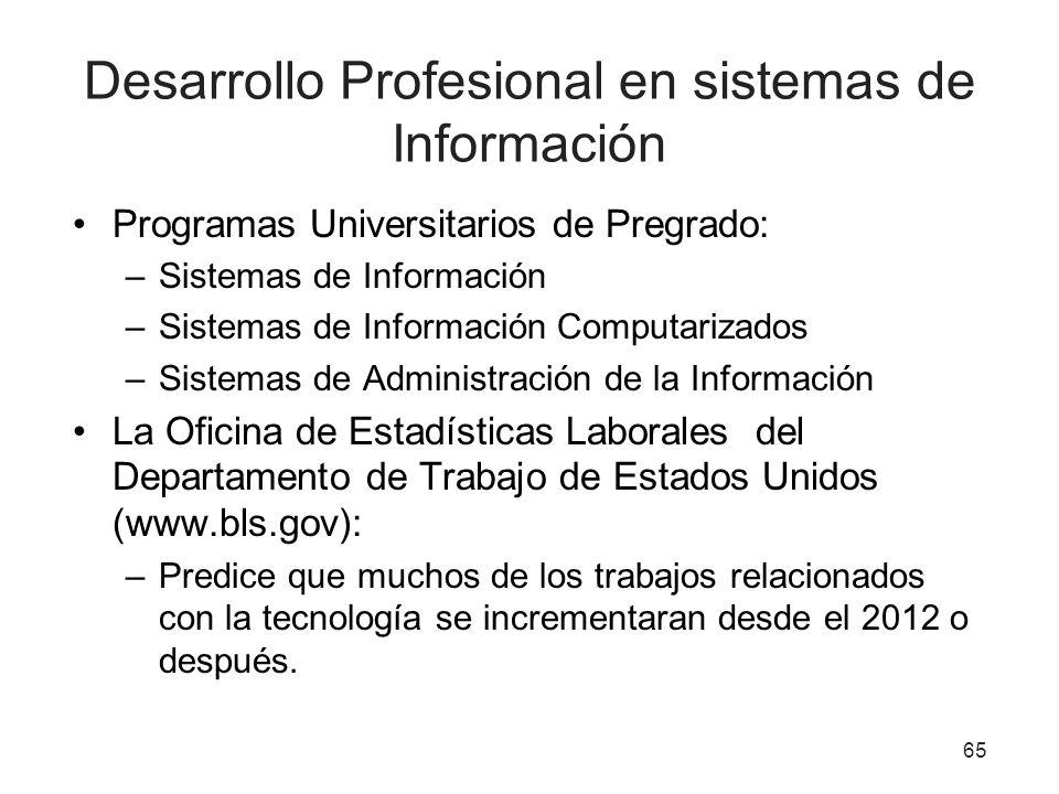 Desarrollo Profesional en sistemas de Información Programas Universitarios de Pregrado: –Sistemas de Información –Sistemas de Información Computarizad