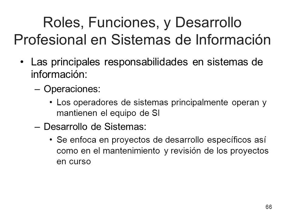 Roles, Funciones, y Desarrollo Profesional en Sistemas de Información Las principales responsabilidades en sistemas de información: –Operaciones: Los