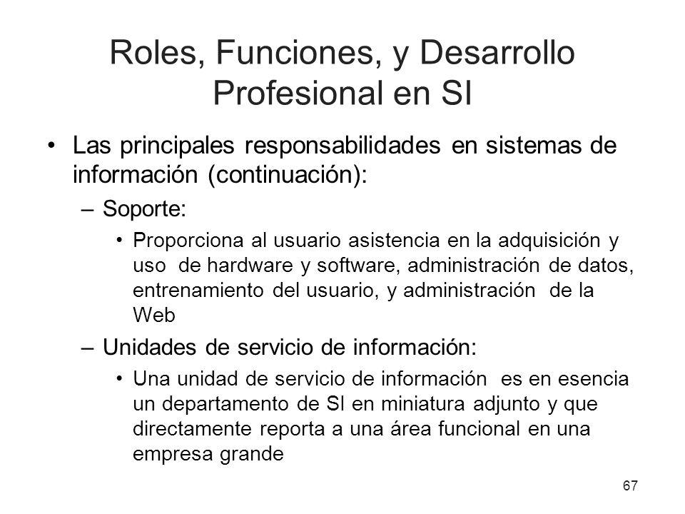Roles, Funciones, y Desarrollo Profesional en SI Las principales responsabilidades en sistemas de información (continuación): –Soporte: Proporciona al