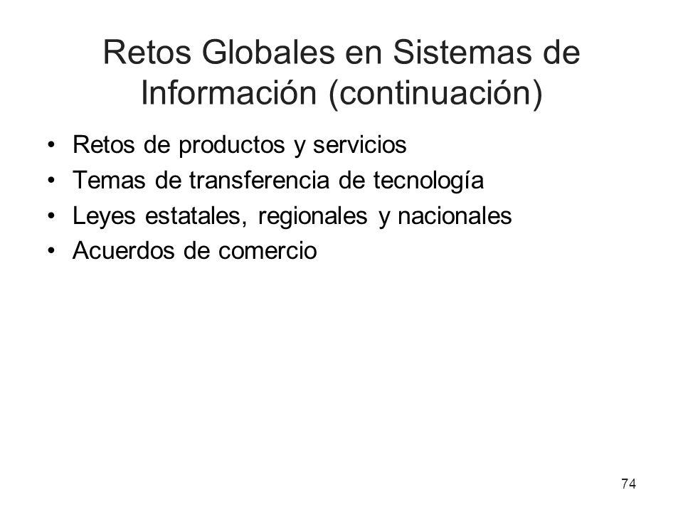 Retos Globales en Sistemas de Información (continuación) Retos de productos y servicios Temas de transferencia de tecnología Leyes estatales, regional