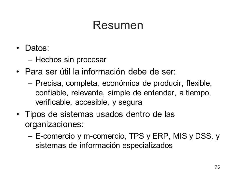 Resumen Datos: –Hechos sin procesar Para ser útil la información debe de ser: –Precisa, completa, económica de producir, flexible, confiable, relevant