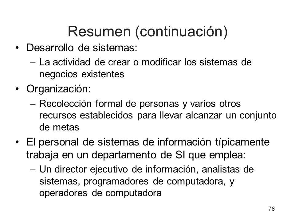 Resumen (continuación) Desarrollo de sistemas: –La actividad de crear o modificar los sistemas de negocios existentes Organización: –Recolección forma