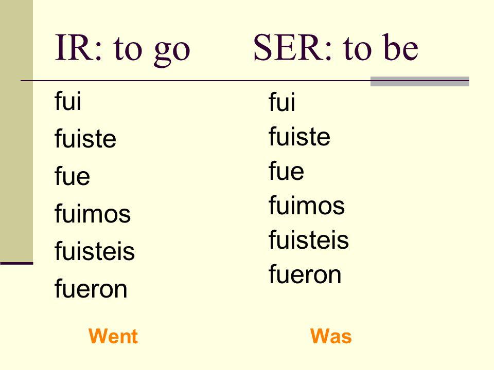 IR: to goSER: to be fui fuiste fue fuimos fuisteis fueron fui fuiste fue fuimos fuisteis fueron WentWas