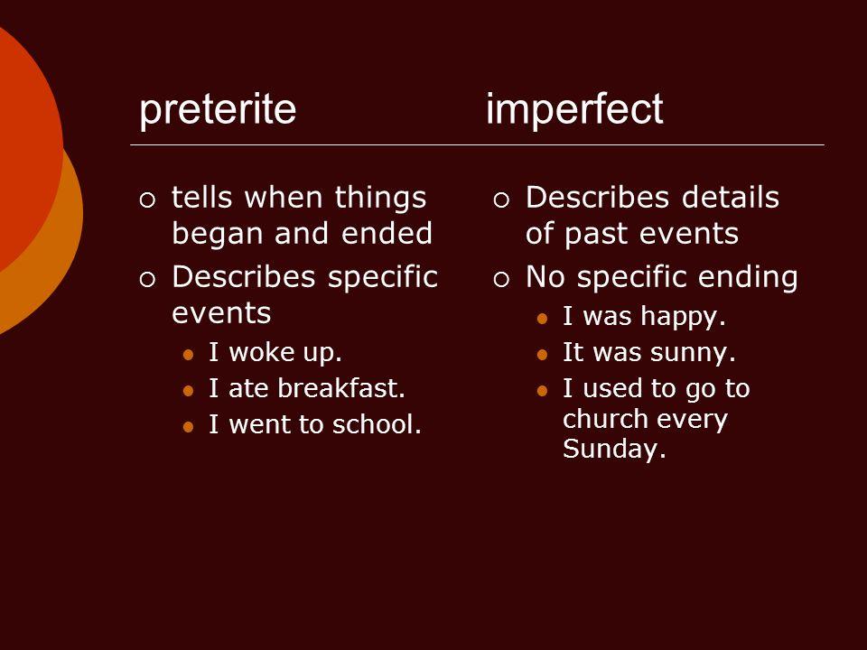 Ejemplos del Imperfecto Carlos iba a España cada año.