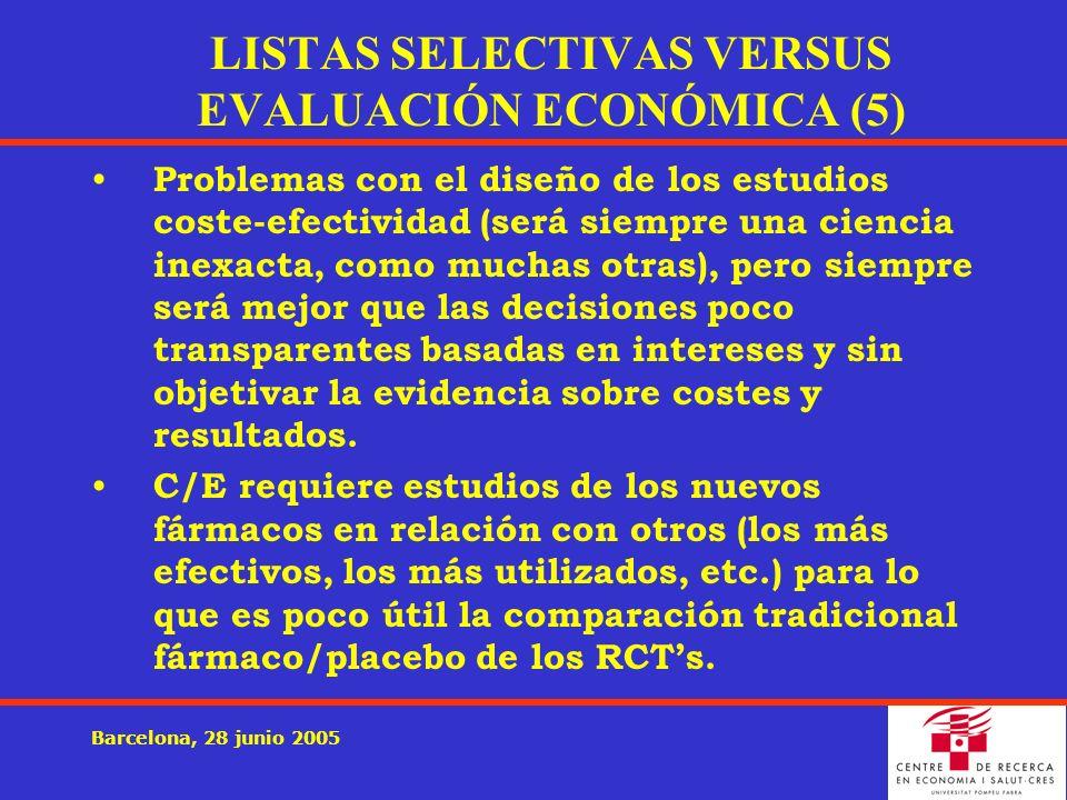 Barcelona, 28 junio 2005 Problemas con el diseño de los estudios coste-efectividad (será siempre una ciencia inexacta, como muchas otras), pero siempre será mejor que las decisiones poco transparentes basadas en intereses y sin objetivar la evidencia sobre costes y resultados.