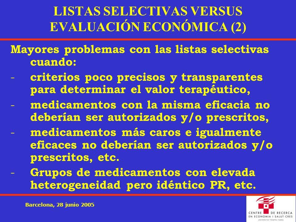 Barcelona, 28 junio 2005 LISTAS SELECTIVAS VERSUS EVALUACIÓN ECONÓMICA (2) Mayores problemas con las listas selectivas cuando: - criterios poco precisos y transparentes para determinar el valor terapéutico, - medicamentos con la misma eficacia no deberían ser autorizados y/o prescritos, - medicamentos más caros e igualmente eficaces no deberían ser autorizados y/o prescritos, etc.