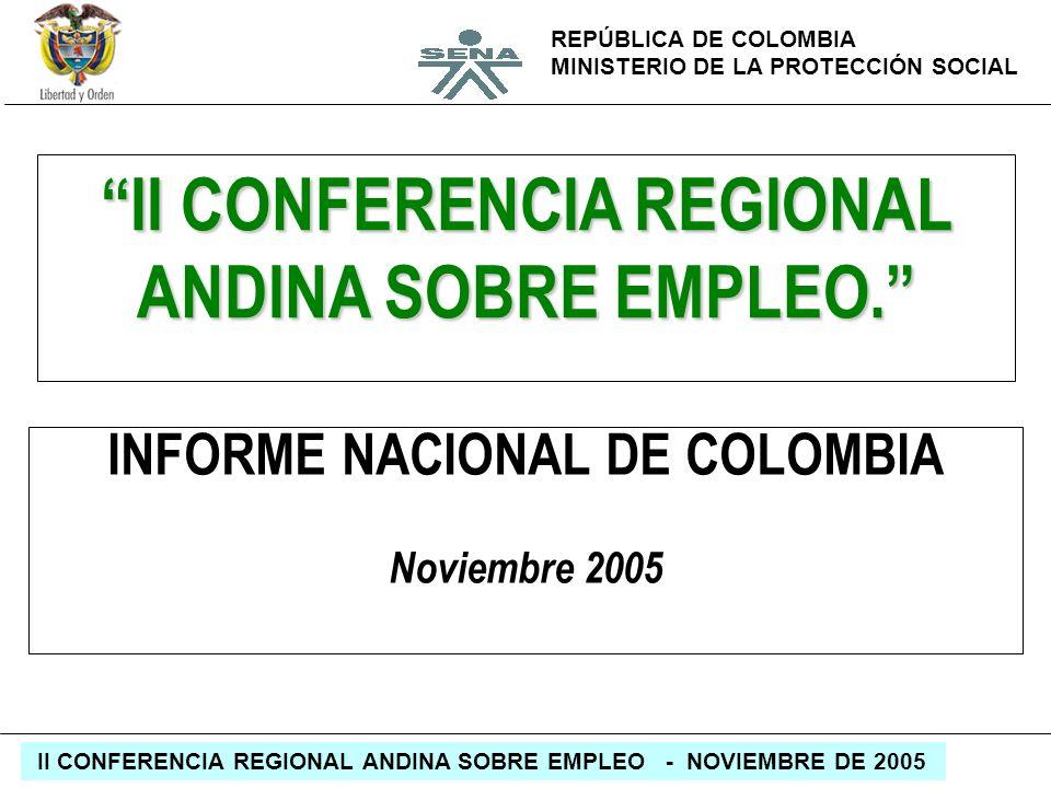 REPÚBLICA DE COLOMBIA MINISTERIO DE LA PROTECCIÓN SOCIAL II CONFERENCIA REGIONAL ANDINA SOBRE EMPLEO - NOVIEMBRE DE 2005 II CONFERENCIA REGIONAL ANDIN