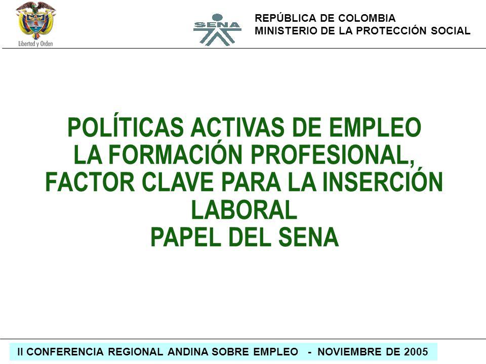 REPÚBLICA DE COLOMBIA MINISTERIO DE LA PROTECCIÓN SOCIAL II CONFERENCIA REGIONAL ANDINA SOBRE EMPLEO - NOVIEMBRE DE 2005 POLÍTICAS ACTIVAS DE EMPLEO L