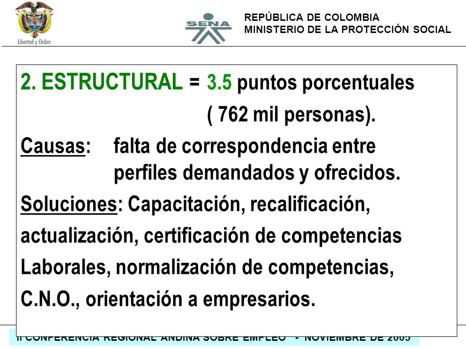 REPÚBLICA DE COLOMBIA MINISTERIO DE LA PROTECCIÓN SOCIAL II CONFERENCIA REGIONAL ANDINA SOBRE EMPLEO - NOVIEMBRE DE 2005 2. ESTRUCTURAL =3.5 puntos po