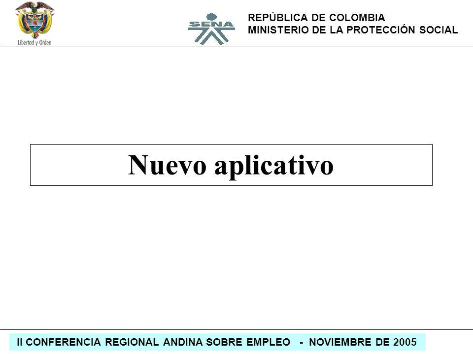 REPÚBLICA DE COLOMBIA MINISTERIO DE LA PROTECCIÓN SOCIAL II CONFERENCIA REGIONAL ANDINA SOBRE EMPLEO - NOVIEMBRE DE 2005 Nuevo aplicativo