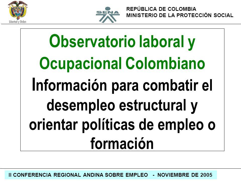 REPÚBLICA DE COLOMBIA MINISTERIO DE LA PROTECCIÓN SOCIAL II CONFERENCIA REGIONAL ANDINA SOBRE EMPLEO - NOVIEMBRE DE 2005 O bservatorio laboral y Ocupa