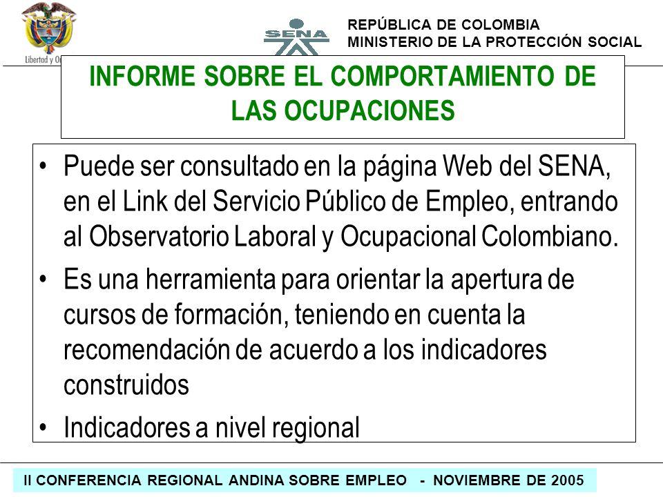 REPÚBLICA DE COLOMBIA MINISTERIO DE LA PROTECCIÓN SOCIAL II CONFERENCIA REGIONAL ANDINA SOBRE EMPLEO - NOVIEMBRE DE 2005 INFORME SOBRE EL COMPORTAMIEN